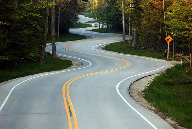 Curvy Road near Gills Rock in Door County Wisconsin stock photo