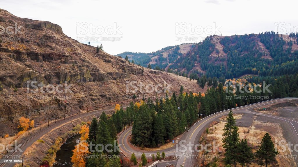 Curvy Road Oregon Trail Exit stock photo