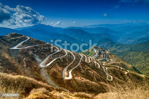 istock Curvy roads , Silk trading route between China and India 523035682