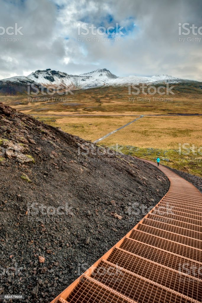 Curvy Staircase In Icelandic Wilderness stock photo