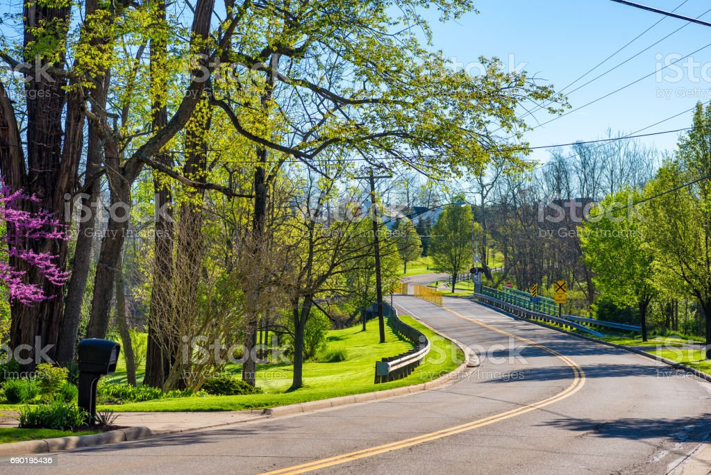 Curvy suburban road stock photo