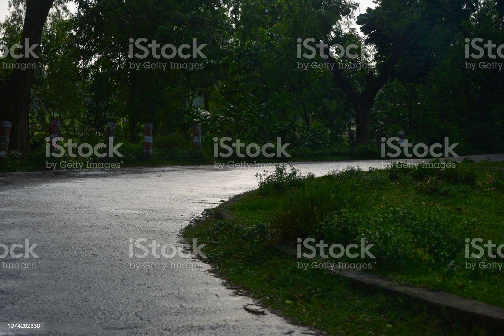 A curvy urban road isolated unique photo stock photo