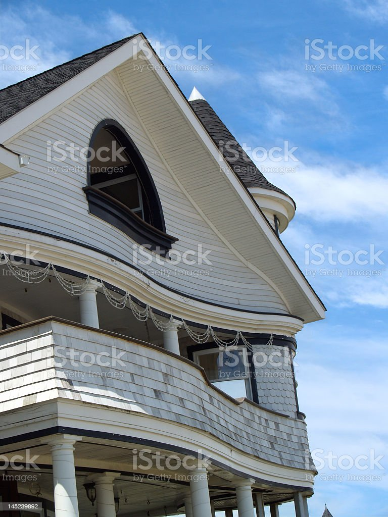Curvy Victorian Revival Seaside Home - Ocean Grove, New Jersey stock photo