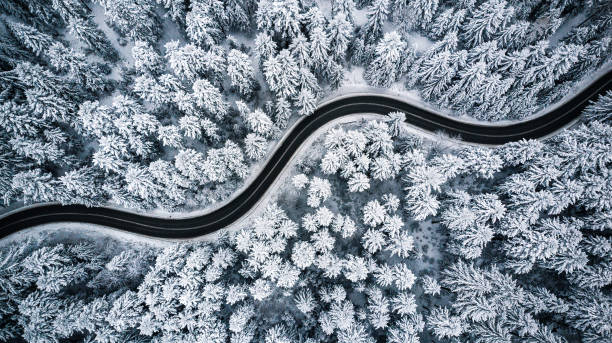 Curvy windy road in snow covered forest, top down aerial view Curvy windy road in snow covered forest, top down aerial view. the bigger picture stock pictures, royalty-free photos & images