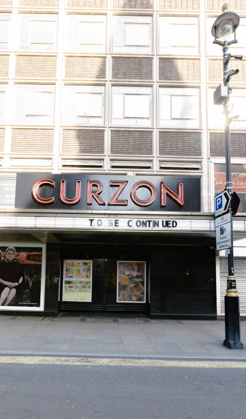 Curzon cinema, London, exposes banner during Coronavirus stock photo