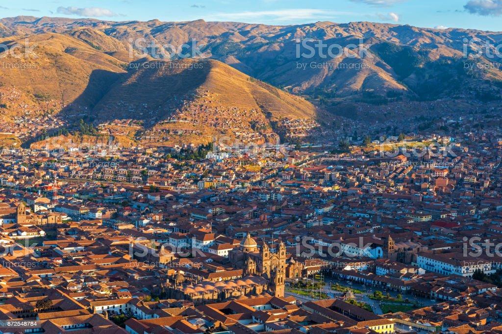 Cusco City Skyline at Sunset stock photo