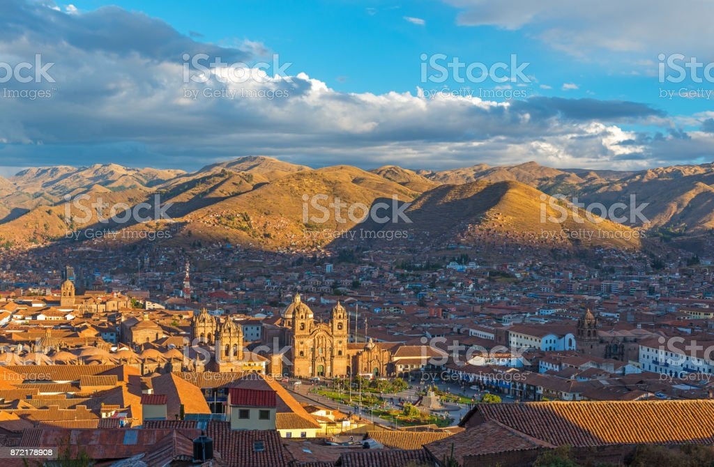 Cusco Cityscape at Sunset stock photo