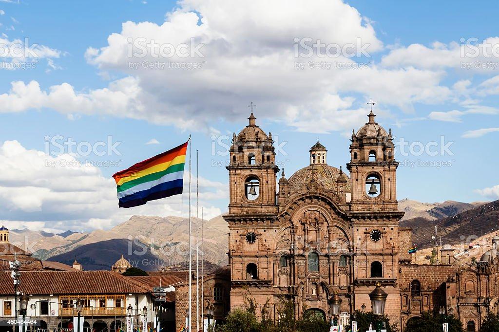 Cusco Flag Flying In Plaza De Armas Peru stock photo