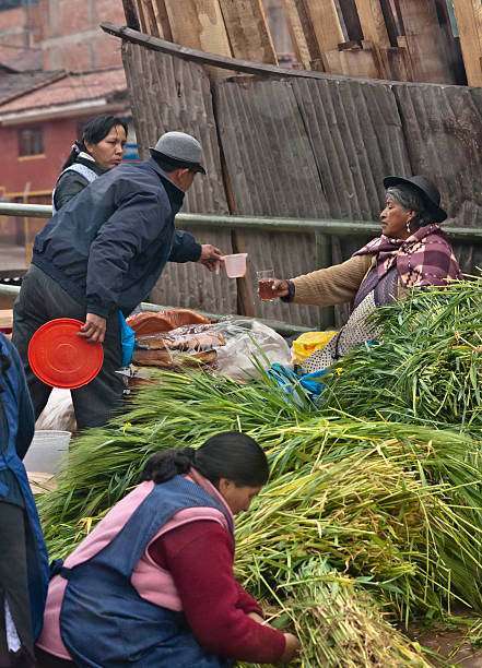 Cusco Saturday Market Tea Break Cusco, Peru– February 6, 2016: A group of Quechua vendors during the Saturday Market of Cusco.  A seller of baked goods is taking a break while, in the foreground, a woman prepares an order of greens used to feed guinea pigs, a favorite of native Peruvian cuisine. michael stephen wills south america stock pictures, royalty-free photos & images