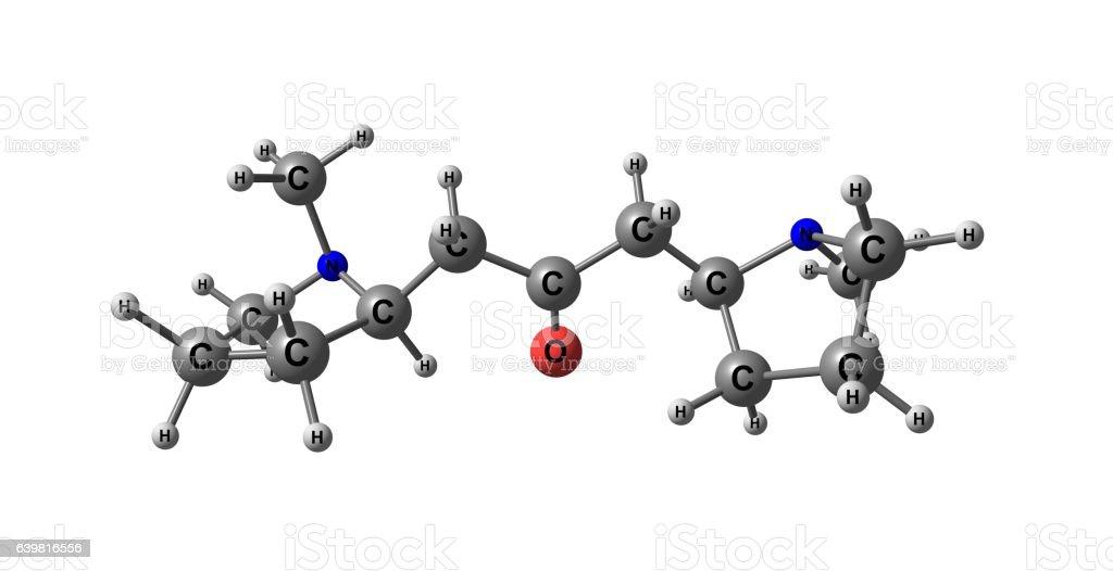 Cuscohygrine molecular structure isolated on white stock photo