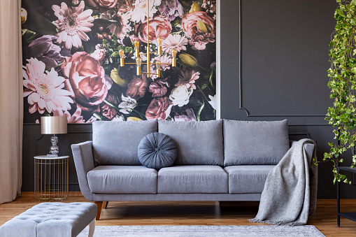 Cushion and blanket on a stylish sofa in a gray living room interior with ivy plant and flowers print on the wall