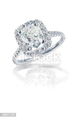 istock Cushion Cut diamond halo engagement wedding ring 468017397