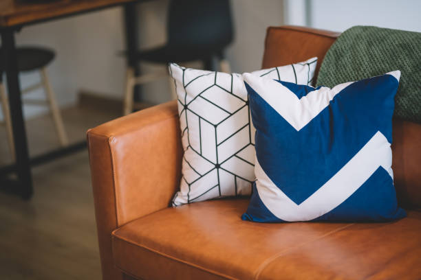 2 cushion on sofa in living room - подушка стоковые фото и изображения