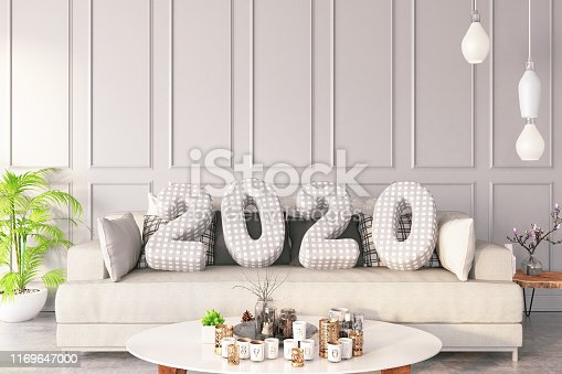 2020 Cushions with Cozy Interior. 3D Render