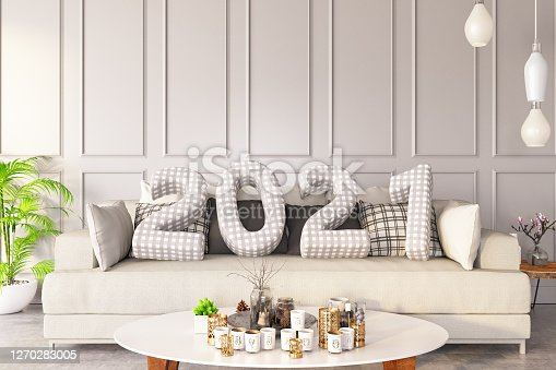 2021 Cushions with Cozy Interior . 3d Render
