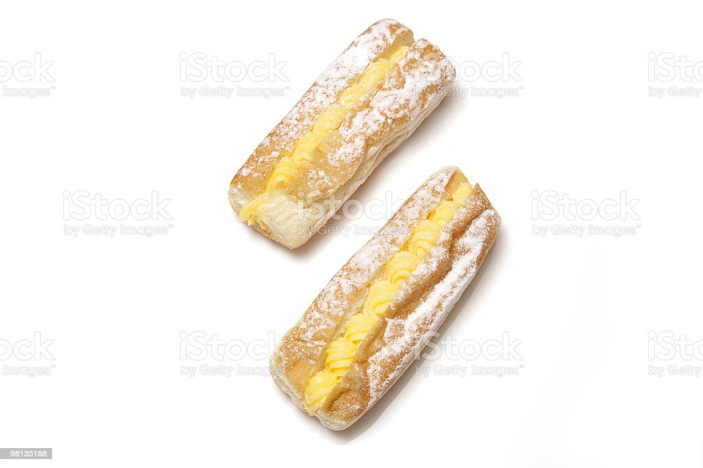 Custard cream donuts on a white background. royalty-free stock photo
