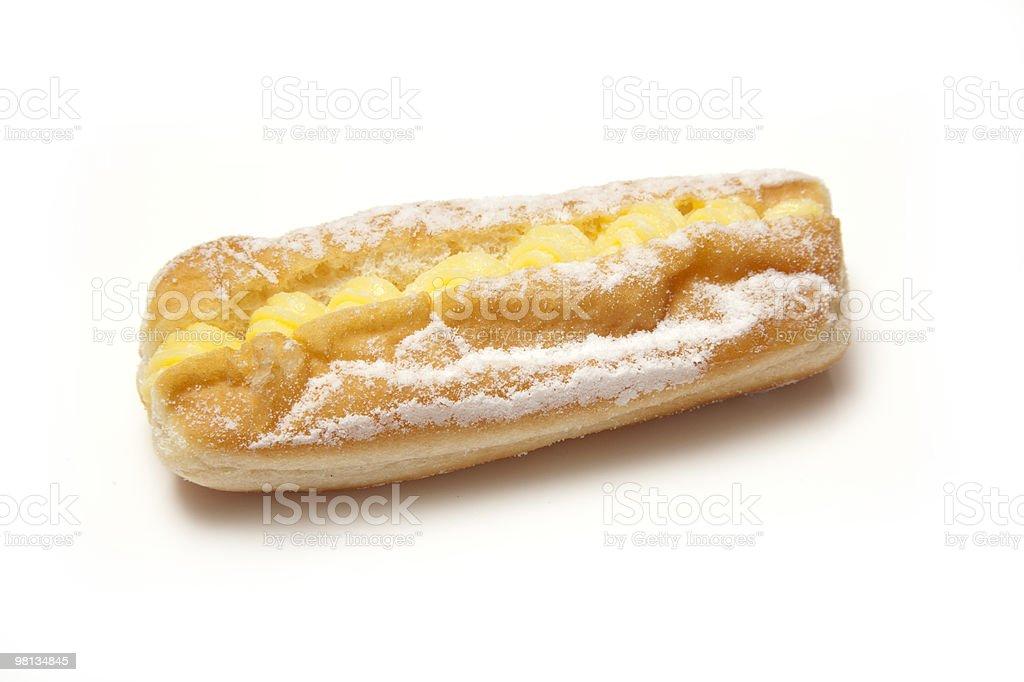 Custard cream  doughnut on a white background. royalty-free stock photo