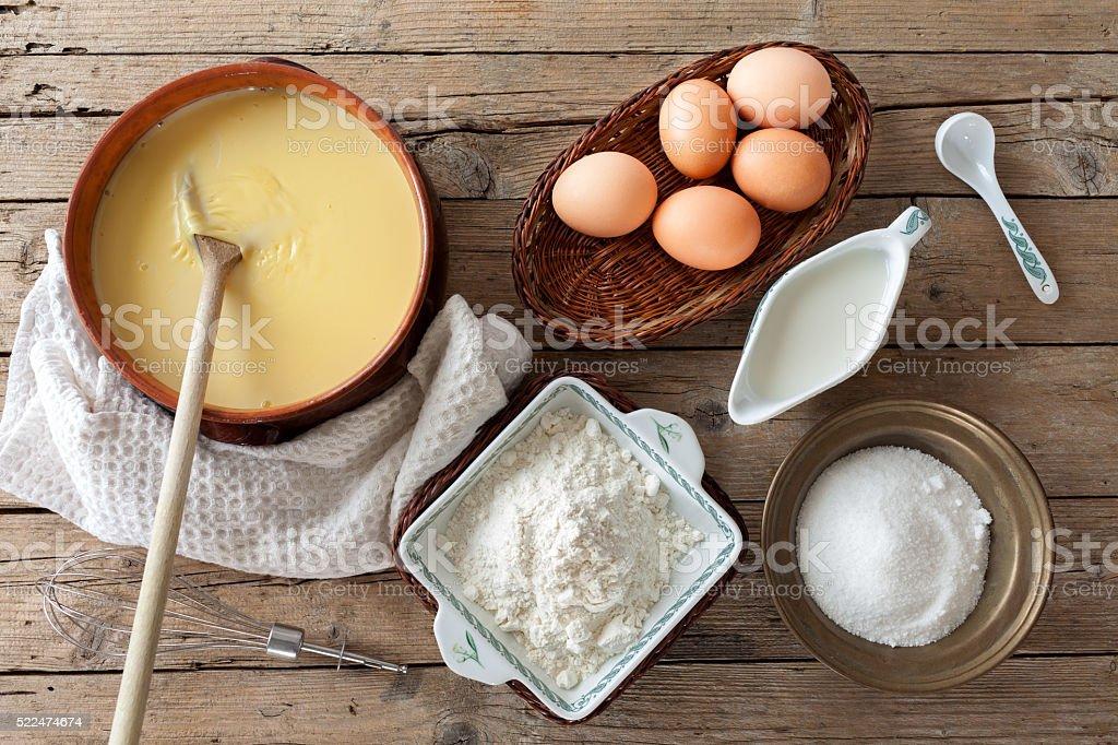 Custard Cream Ingredients stock photo