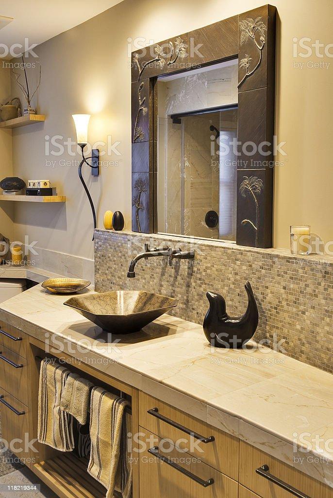Custom Bathroom with Vessel Sink royalty-free stock photo
