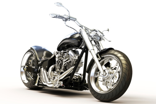 A custom black motorcycle against a plain white background.  The motorcycle is shown from the side and has chrome accent pieces.