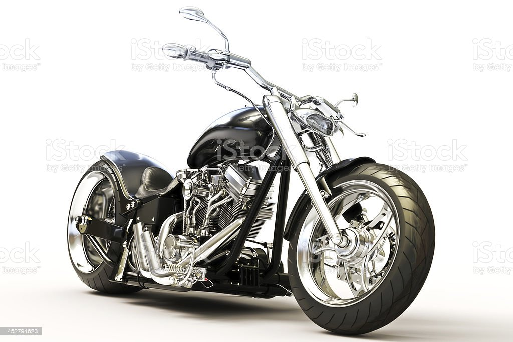 Custom black motorcycle stock photo