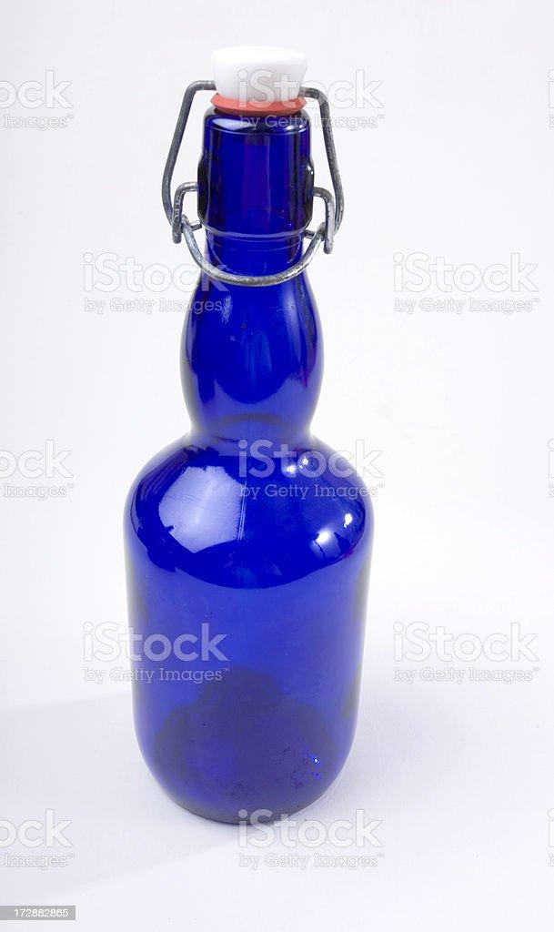 Custom Cobalt Blue Beer Bottle stock photo