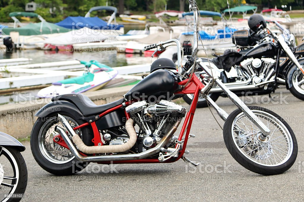 black harley davidson chopper. Custom Harley Davidson Chopper Motorcycle With Extended Front End Royalty-free Stock Photo Black