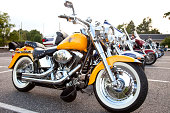 'Clifton, New Jersey, USA - July 11, 2012: A Harley Davidson motorcycle at ''Bike Night'' at a local restaurant. Motorcycle enthusiast gather to show off their motorcycles and socialize.'
