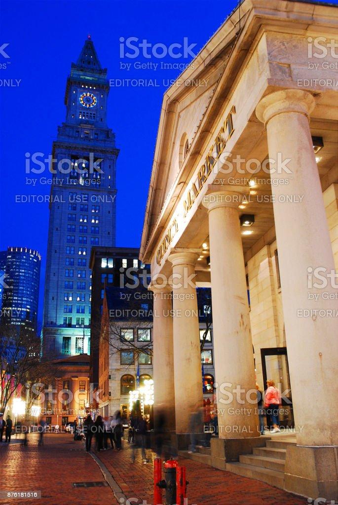 Custom House and Quincy Market, Boston stock photo