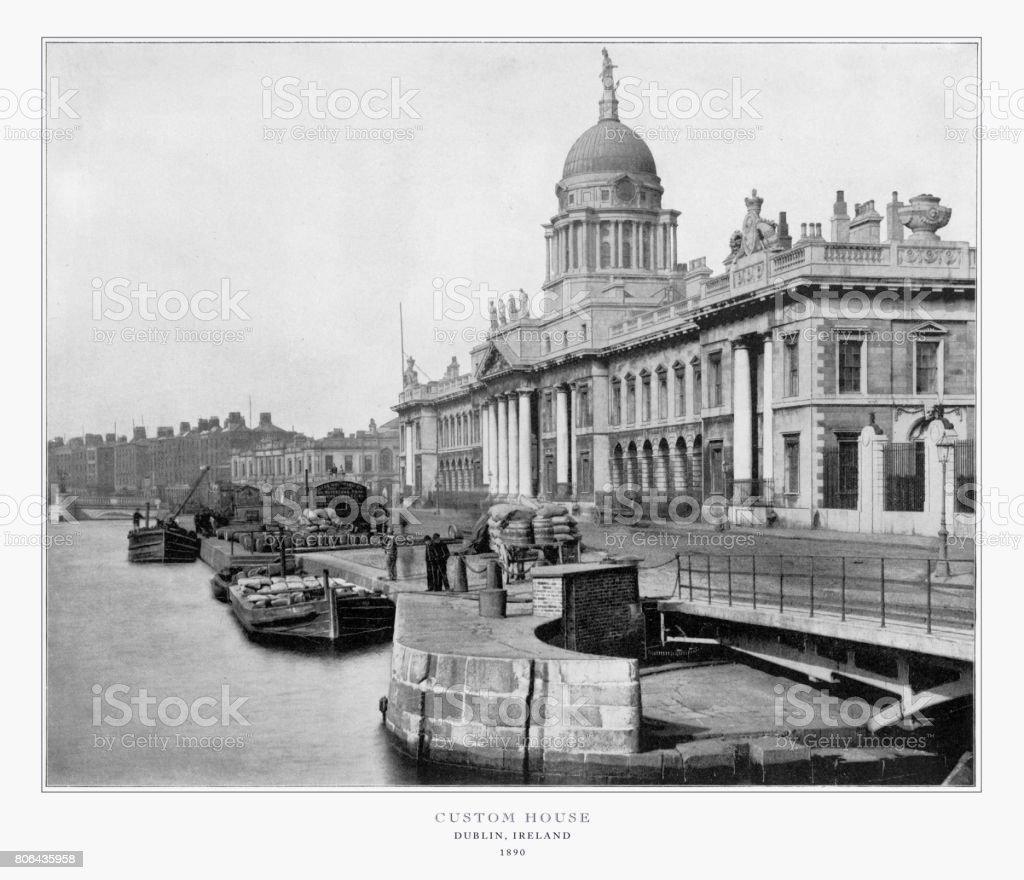 Custom House, Dublin, Ireland, Antique Ireland Photograph, 1893 stock photo