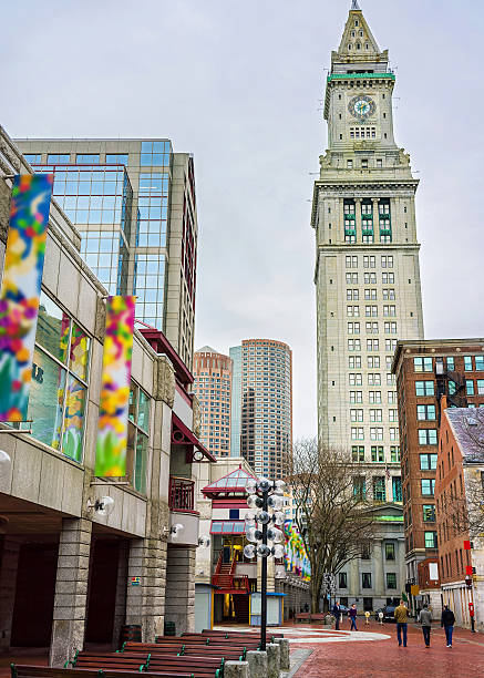 custom house tower and faneuil hall marketplace at downtown boston - alaska us state stock photos and pictures