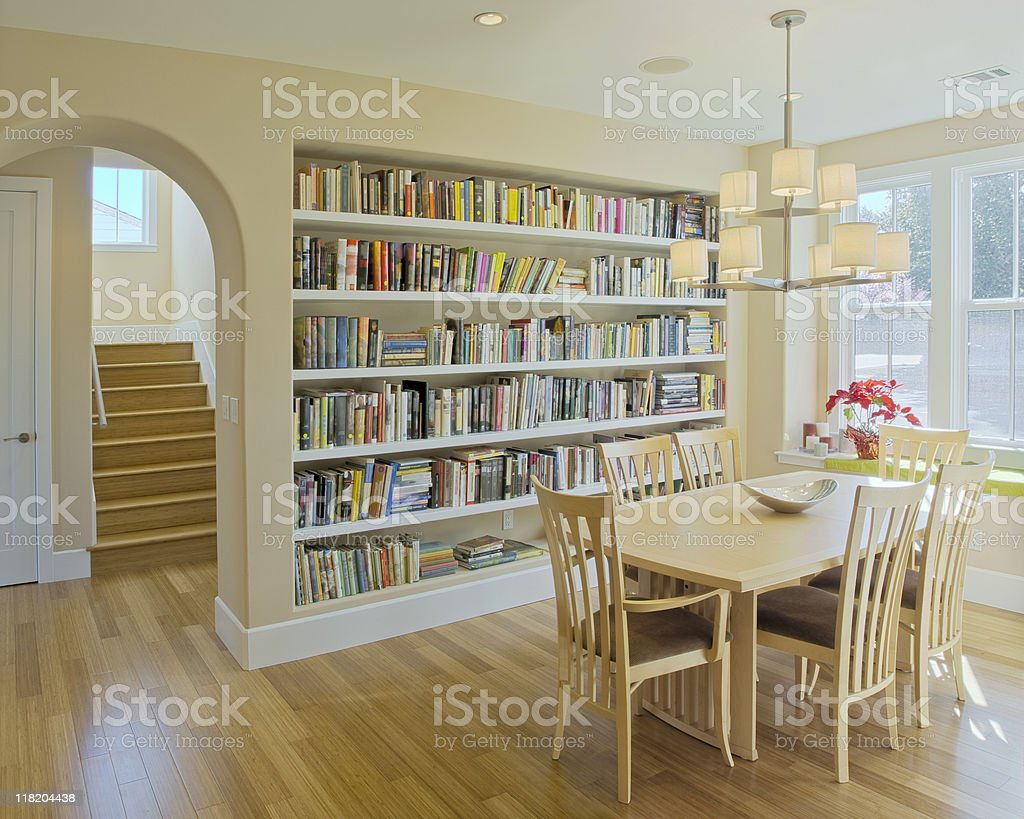 Custom Informal Dining Room With Bookcase Stock Photo