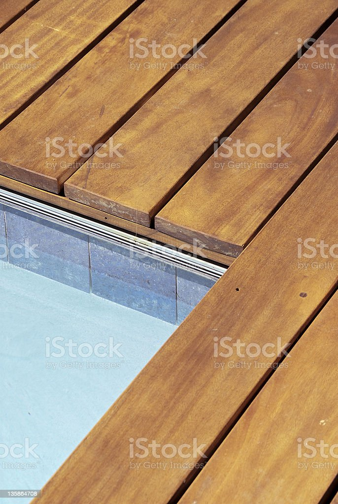 Custom Ipe Wood Deck Edge At Swimming Pool Royalty Free Stock Photo