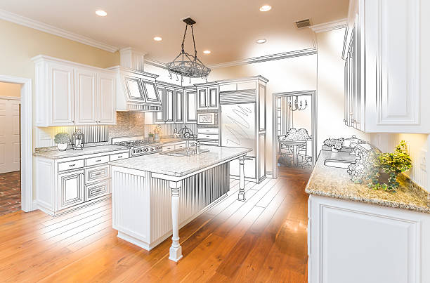 individuelle küche design zeichnen und gebürstetem foto-kombination - küche neu gestalten ideen stock-fotos und bilder
