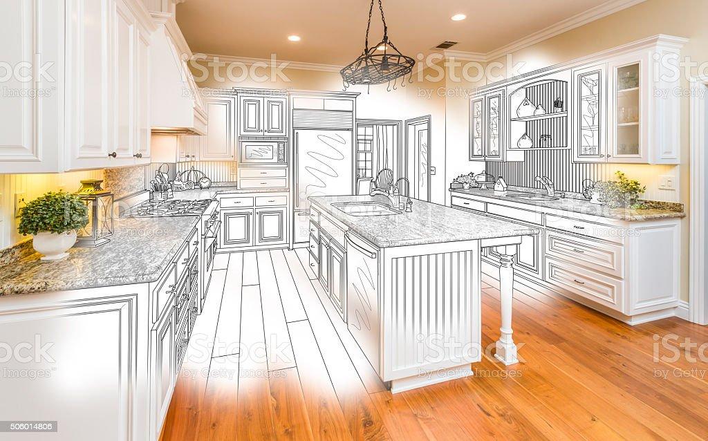 Individuelle Küche Design Zeichnen Und Gebürstetem Foto Kombination  Lizenzfreies Stock Foto