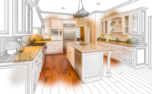 istock Custom Kitchen Design Drawing and Brushed Photo Combination 506590362