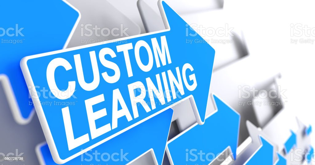Custom Learning - Message on Blue Pointer. 3D stock photo
