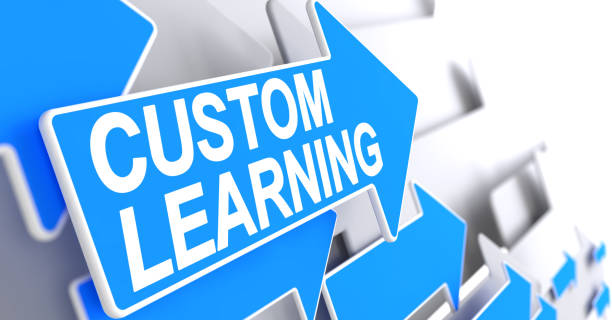 custom learning - message on blue pointer. 3d - customize stock pictures, royalty-free photos & images