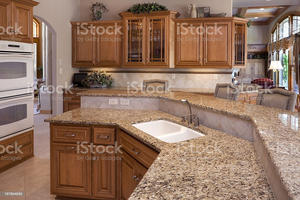 Custom Luxury Eatin Kitchen Granite Counters Oak Cabinets Stock Download Image Now