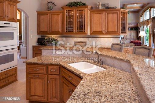 Custom Luxury Eatin Kitchen With Granite Counters Oak