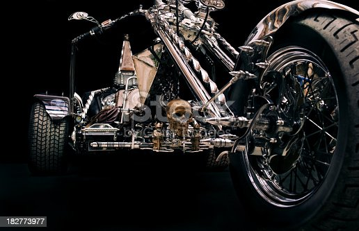A shot of custom made trike against black background, the author and owner is a friend of mine, property release attached.