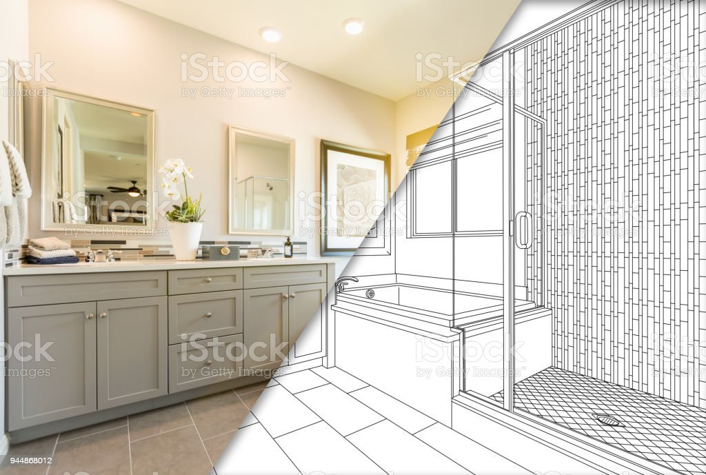 Custom Master Bahroom Design Drawing with Cross Section of Finished Photo stock photo