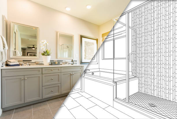 custom master bahroom design drawing with cross section of finished photo - bathroom renovation stock photos and pictures