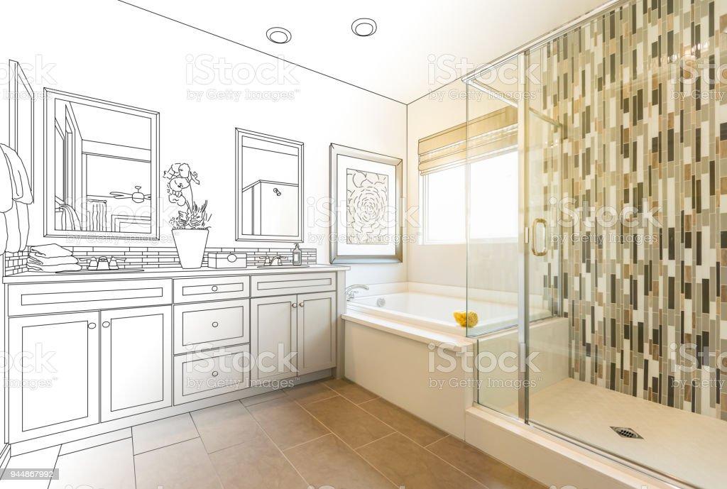 Custom Master Bathroom Design Drawing Gradating to Finished Photo stock photo