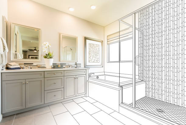 custom master bathroom design drawing gradating to finished photo - bathroom renovation stock photos and pictures
