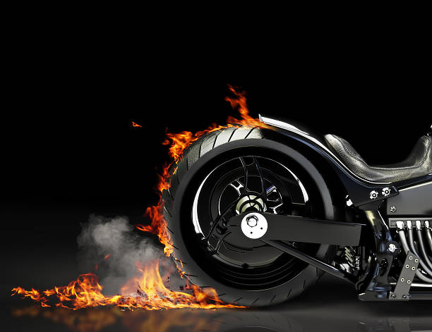 custom motorcycle burnout on a black background - wheel black background bildbanksfoton och bilder