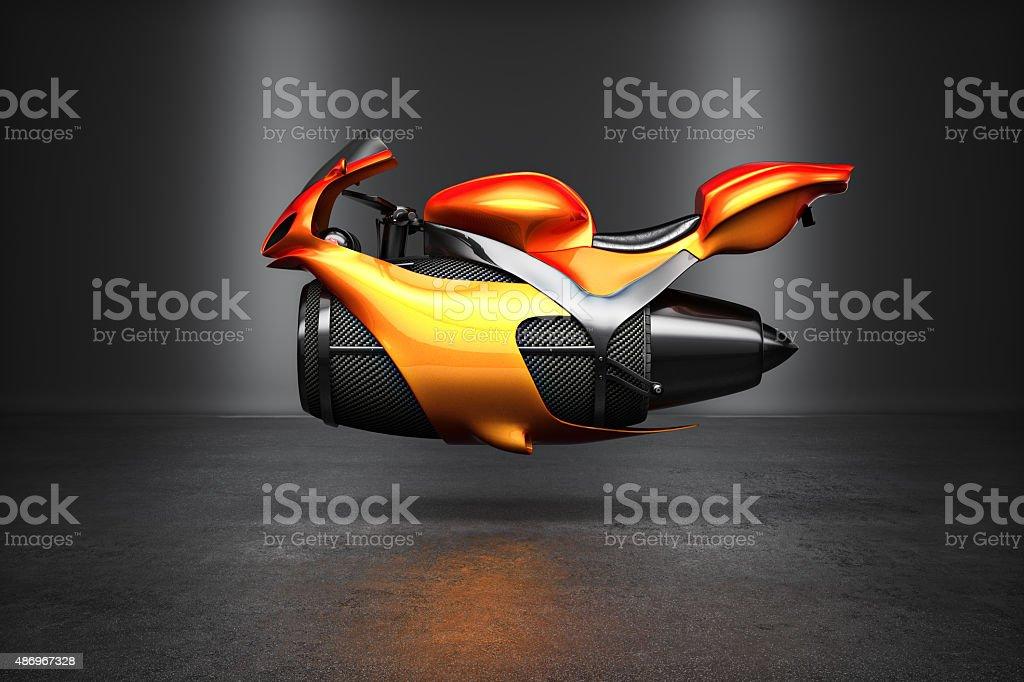 Custom naranja futurista bicicleta concepto de turbina de chorro - foto de stock