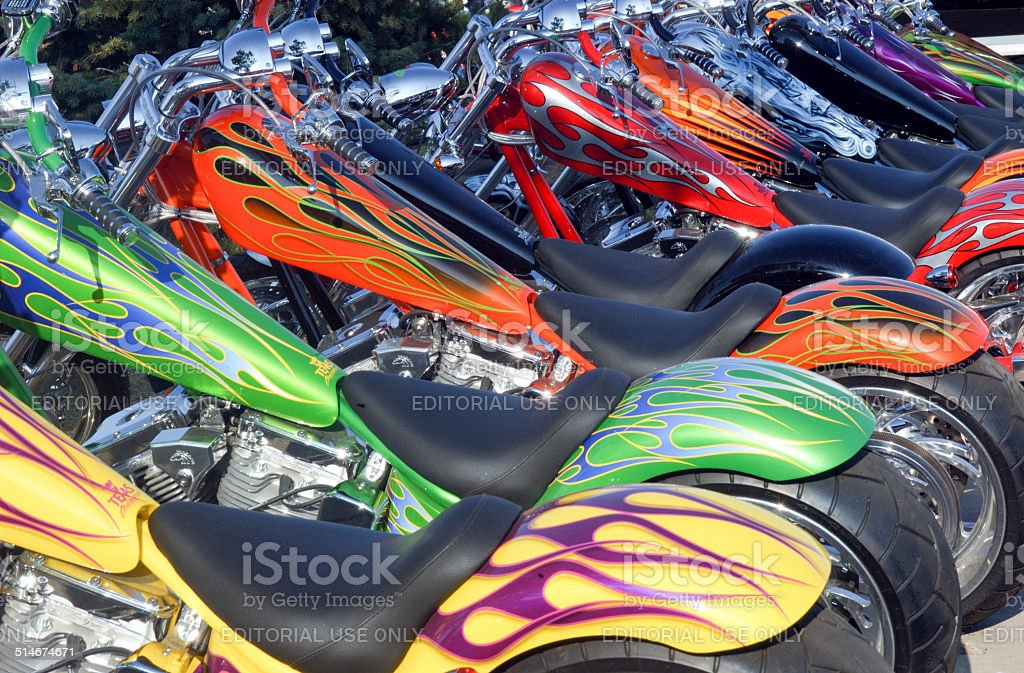Custom painted motorcycles stock photo