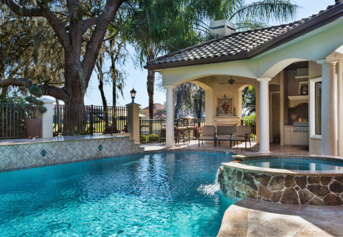 Custom Swimming Pool With Spa And Outdoor Living Space ... on Outdoor Living Pool And Spa id=67131