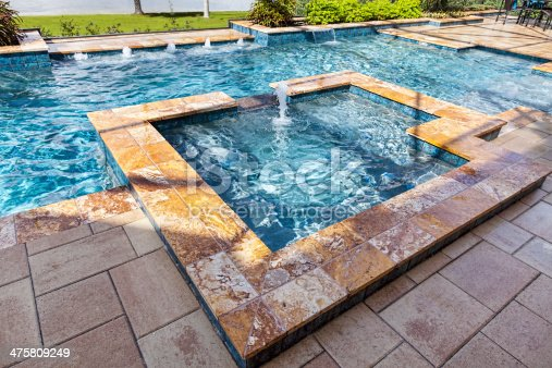 Beautiful custom swimming pool with spa and fountains.